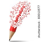 creative red pencil with red innovation isolate on white - stock photo