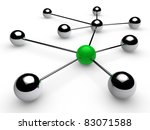 3d, green, chrome, ball, network, communication, white - stock photo