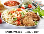 spaghetti with grilled meat - stock photo
