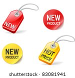 new product and hot price stickers and tags - stock vector