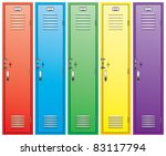 vector set of colorful school lockers - stock vector