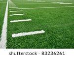 Sideline on a American Football Field with Hash Marks - stock photo
