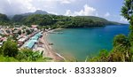 Panorama of Anse La Raye bay in St. Lucia - stock photo