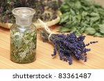 Medicinal herbs, lavender, yarrow, wild thyme, mint - stock photo