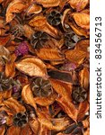 Dry aromatic orange,brown,pink plants,flowers,leaves,seed, pods background - stock photo