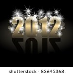 Year 2012 with many stars and lights - stock vector
