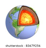 Structure of the Earth. Isolated over white - stock photo