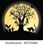 Silhouette of a scary tee. Full moon on the background. - stock vector