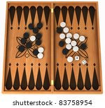Leisure activity: wooden backgammon isolated over white - stock photo
