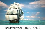 ship in the sea - stock photo