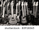 toy guitar background - stock photo