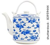 Blue and white porcelain Chinese porcelain teapot with blue motif - stock photo