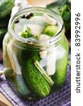 pickled cucumbers with garlic - stock photo