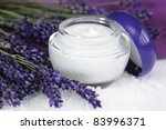 Face cream with lavender on sea salt  lat. Lavandula anugustifolia - stock photo