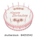 Birthday cake with candles and roses with greetings words - stock photo