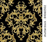 Raster version of vector seamless from abstract gold plant. - stock photo