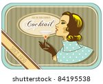 vintage label retro woman cocktail - stock vector