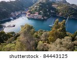 Aerial view of Portofino bay, Liguria, Italy. Trees on foreground - stock photo