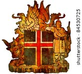 old isolated over white coat of arms of iceland - stock photo