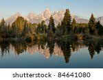 Sunrise landscape of Grand Tetons - stock photo
