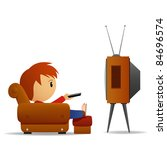Cartoon man with remote watch TV in armchair. Vector illustration. - stock vector
