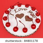 Top view of cake with cherries over red background - stock photo