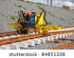 Metro railroad track installation machine - stock photo