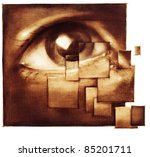 human eye closeup - distraction metaphor - artistic painting - stock photo