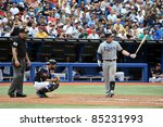 TORONTO, CANADA - AUG 28:  Evan Longoria of the Tampa Bay Rays at bat against the Toronto Blue Jays at the Rogers Centre August 28, 2011 in Toronto, Ontario, Canada. - stock photo