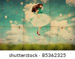 vintage collage with beautiful young woman in jump, retro texture - stock photo