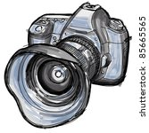 Sketch of a modern digital photo camera. Bitmap copy my vector ID 68682208 - stock photo