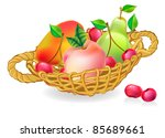 basket with fruits collection - stock vector