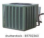 Residential high efficiency central air conditioner outside unit - stock photo