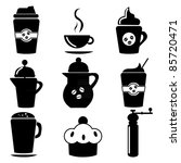 Set of coffee icons-Silhouettes - stock vector