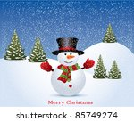 Vector christmas illustration with snowman - stock vector