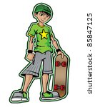 Cool Skater Boy - stock vector