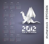 Calendar for 2012 with Origami Dragon - stock vector