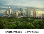 City high-rise buildings - urban landscape. Asian megalopolis - Bangkok. - stock photo