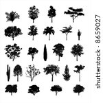 Multiple Tree Silhouettes - stock vector