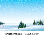 Vector winter landscape with frozen lake, forest and snowfall - stock vector