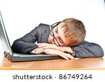 young crazy guy with glasses is sleeping on the job, isolated over white - stock photo