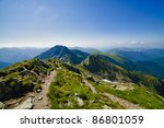 Mountain landscape in shiny summer - stock photo