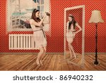 beautiful woman in room with camera, art collage - stock photo