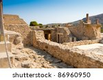 The ruins of the palace of Knossos on the island of Crete in Greece - stock photo