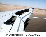 passenger plane during landing on Taba airport in Egypt - stock photo