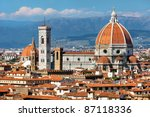 rooftop view of Basilica di Santa Maria del Fiore in Florence,Italy - stock photo