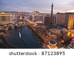 LAS VEGAS, NEVADA - OCTOBER 7:  Caesars Palace, Paris and the Flamingo resorts are located on what is know as the Vegas strip on October 7, 2011 in Las Vegas, Nevada.. Vegas has 147,611 hotel rooms with a average daily rate of $106. - stock photo