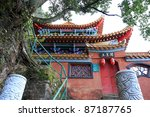 An old Chinese temple at the Western Hill Forest Park in Kunming, Yunnan Province, China. - stock photo