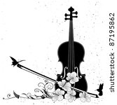 Vector floral musical composition with violin in black and white colors - stock vector