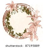 vector frame with with flowers of lily - stock vector